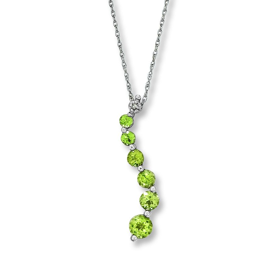 This Stunning 10k White Gold Fine Jewelry Necklace Features An Elegant  Sweep Of Vibrant Peridots With