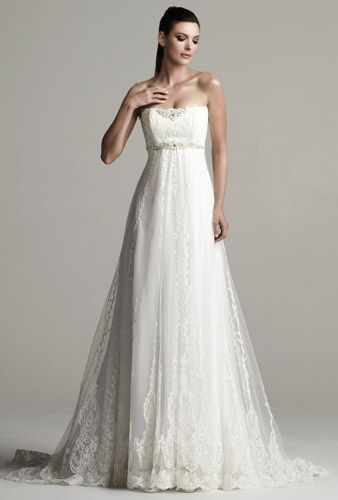 Gorgeous lace and tulle empire waist wedding dress Kitty Chen design ...