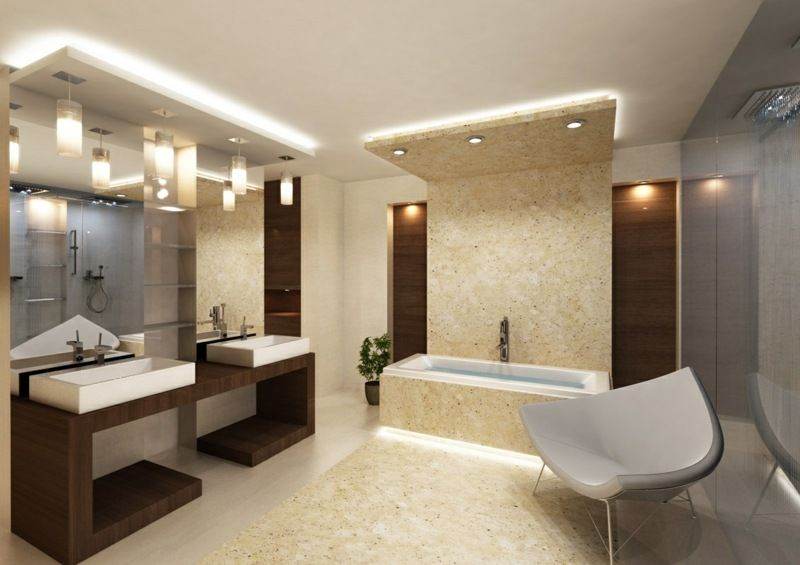 Trends 2014 - Ein Bad in Beige und aus dunklem Holz Badezimmer - holz für badezimmer