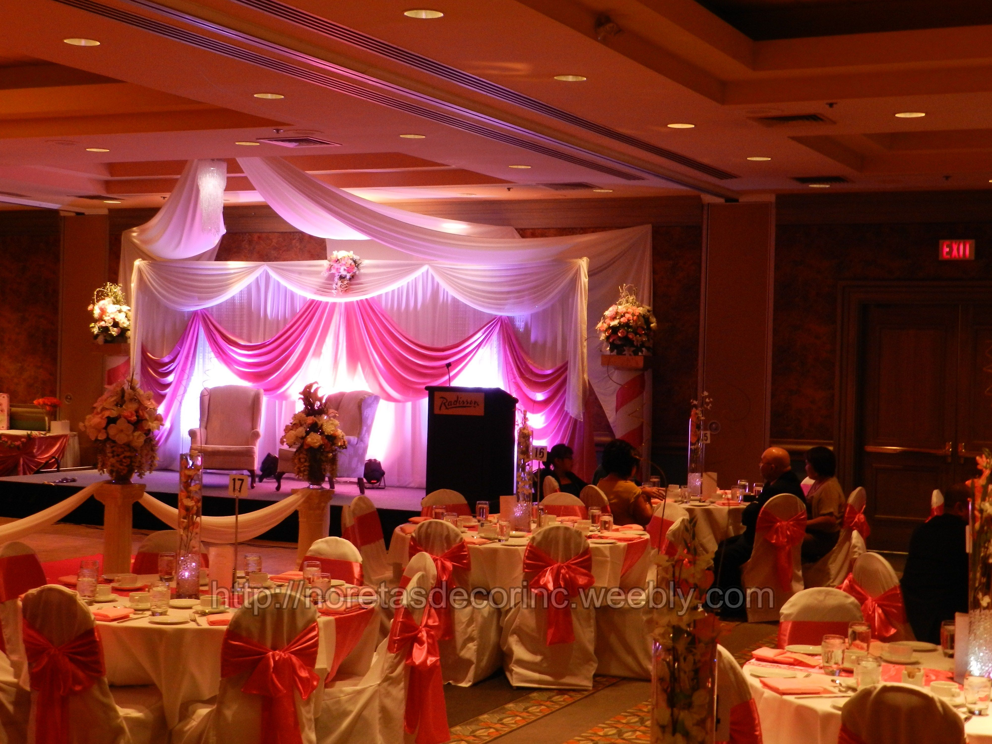 Wedding decoration, banquet hall decoration http://noretasdecorinc ... for Decoration Ideas For Party Hall  76uhy