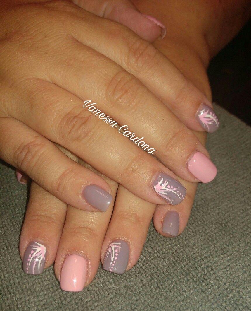 Short square overlay acrylic pink gray nail art designs hand painted ...