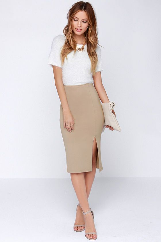 beige bodycon midi skirt great look for work clothing