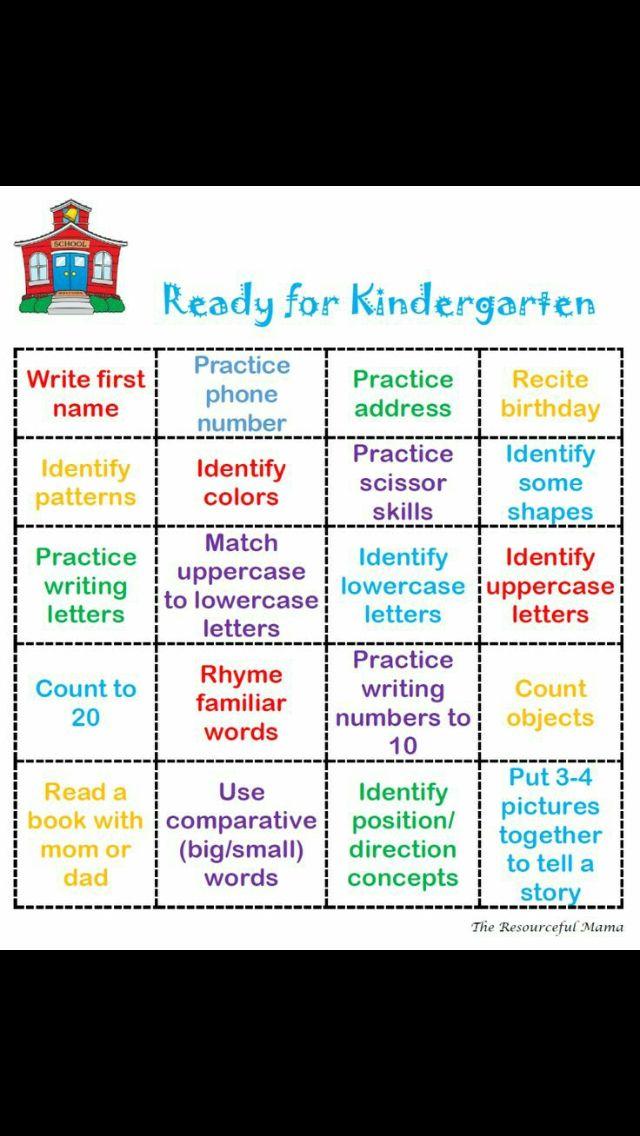 Ready for Kindergarten Bingo | Children's activities ...