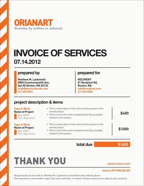 10 Creative Invoice Template Designs Pinterest Business