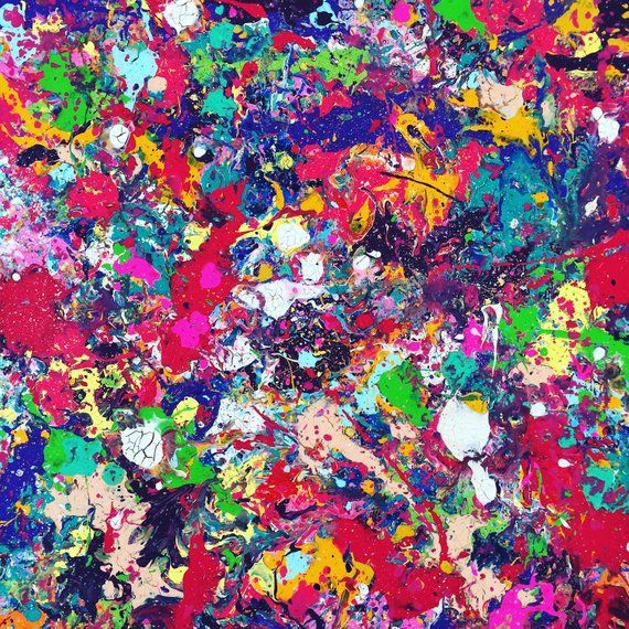 Oversized Splatter Abstract Painting Xl Abstract Art