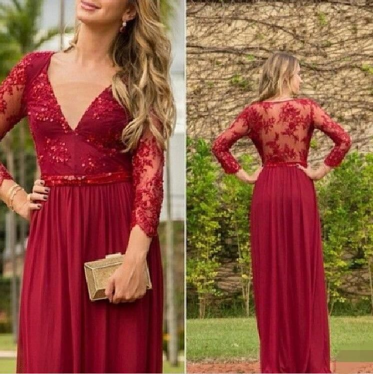 2015 Long Burgundy V Neck Chiffon Prom Dresses With Appliques Beading Floor Length A Line Vestido De Festa Custom Made-in Prom Dresses from Weddings & Events on Aliexpress.com | Alibaba Group