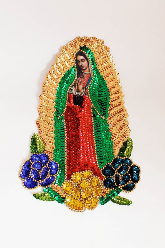Sequin Guadalupe applique Extra Large 3 flower Virgin Mary Sequin Patch Our  lady of Guadalupe for sewing crafting artwork   Bead applique 388504fb7f37