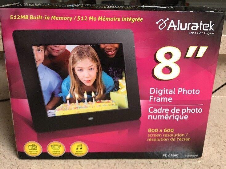 24b8ec75da28 Aluratek ADMPF108F 8-inch Hi-Res Digital Photo Frame w  512MB Memory BRAND  NEW 812658010269