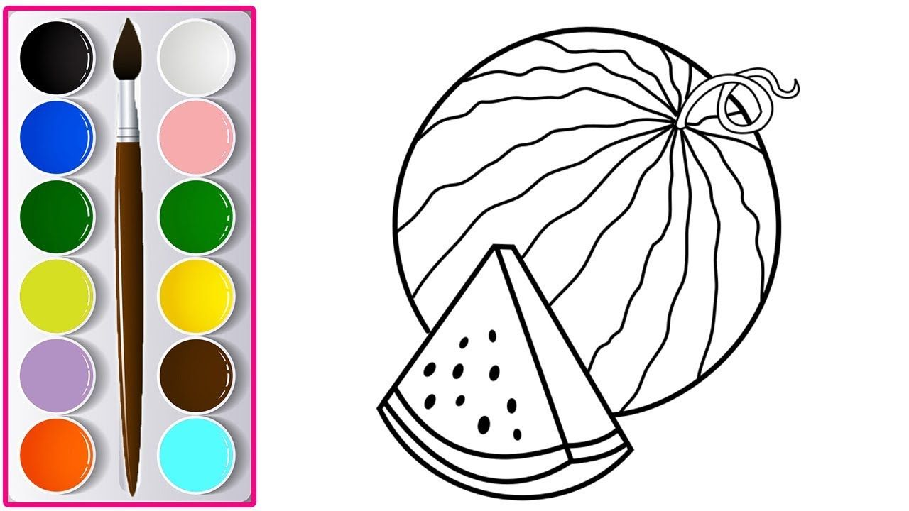 Coloring Kids Drawing Watermelon