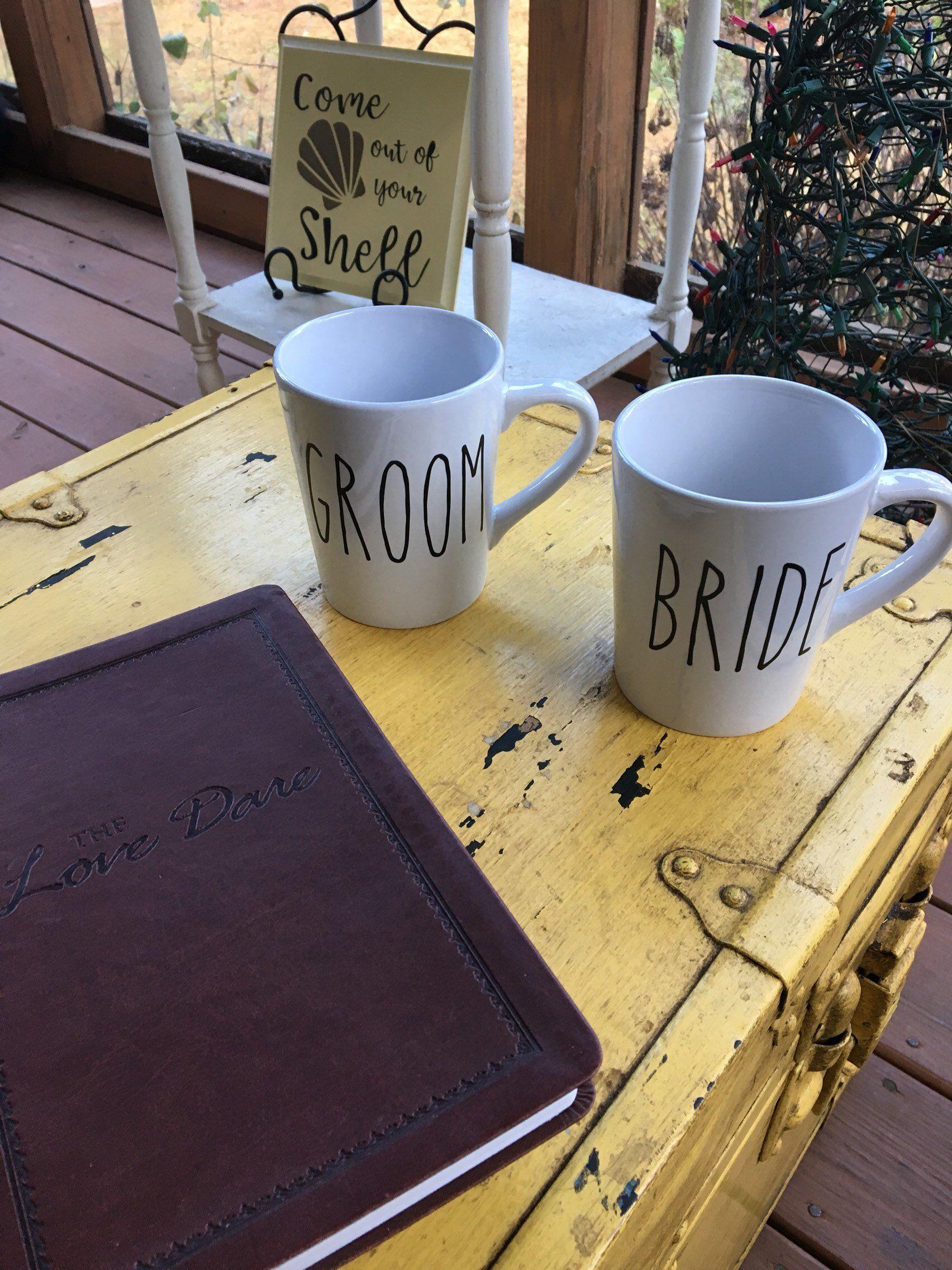 Bride and groom couples coffee mugs funny mugs his and