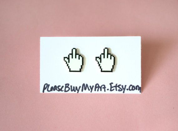 8 bit middle finger cursor soft grunge tumblr by pleasebuymyart - Halloween Tumblr Cursors
