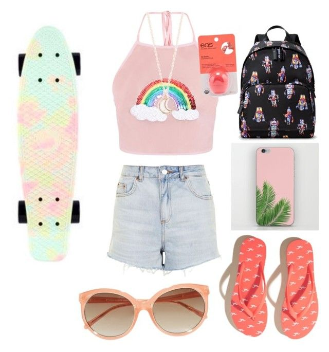 """""""Penny Boarding in L.A. with Daniel Skye"""" by ganderson1127 on Polyvore featuring Topshop, Hollister Co., Prada, Full Tilt, Penny, Eos and Linda Farrow"""