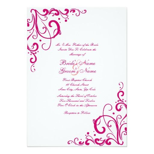 Fuschia And White Flourish Wedding Invitation Zazzle Com
