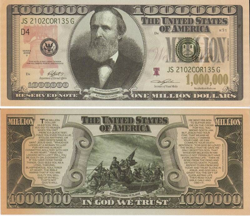 I Wonder What A Real Million Dollar Bill Would Look Like With