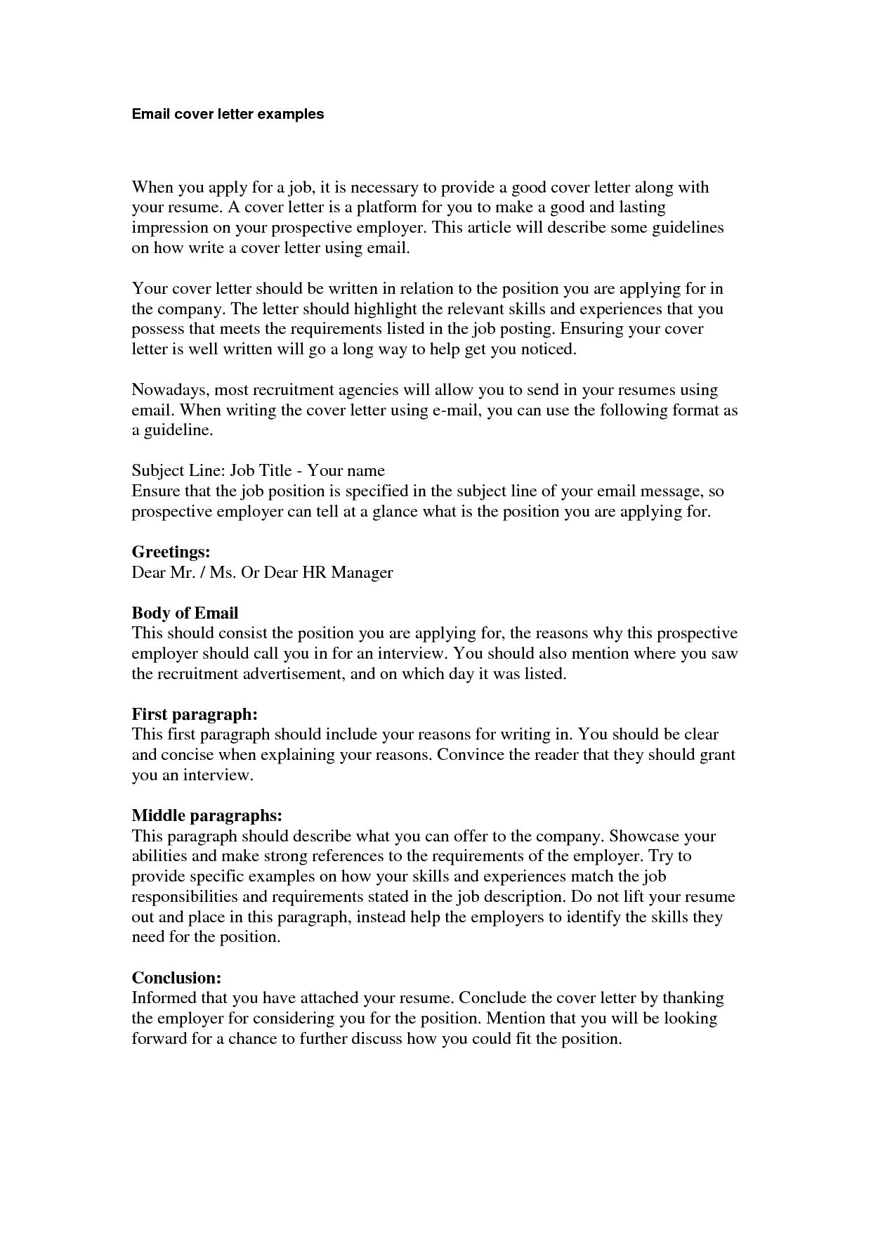 Email Resume Cover Letter Template Resume Builder Templates