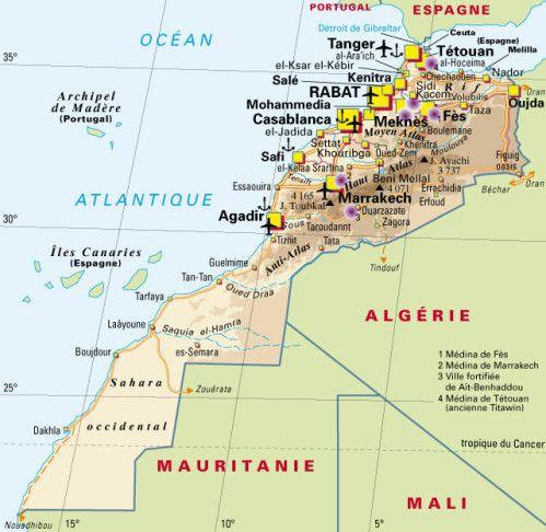 Les Cartes Espagne Portugal Et Maroc In Africa Hymer Migrateurs Carte Maroc Maroc Tourisme Carte Des Regions