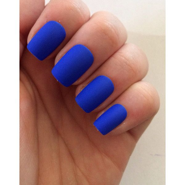 Royal Blue Fake Nails Matte Press On 9 Liked Polyvore Featuring Beauty Products Nail Care Makeup Polish
