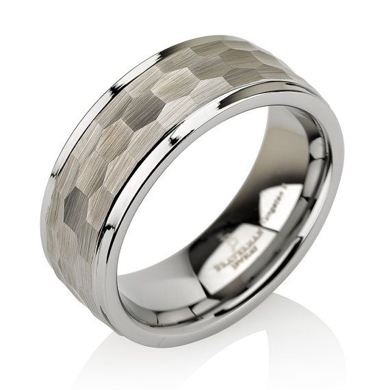 Brushed Hammered Tungsten Wedding Band Satin Stepped Edges Ring Mens 8mm Free Laser Engraving