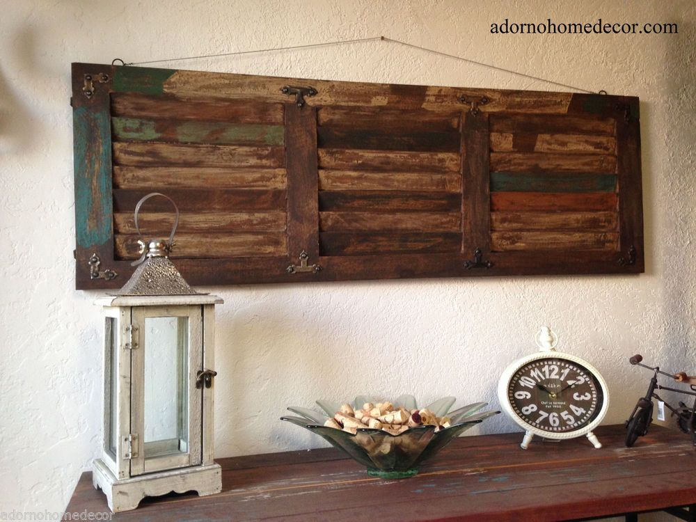 Rustic Wood Wall Panel Distressed Shutter Antique Vintage ...