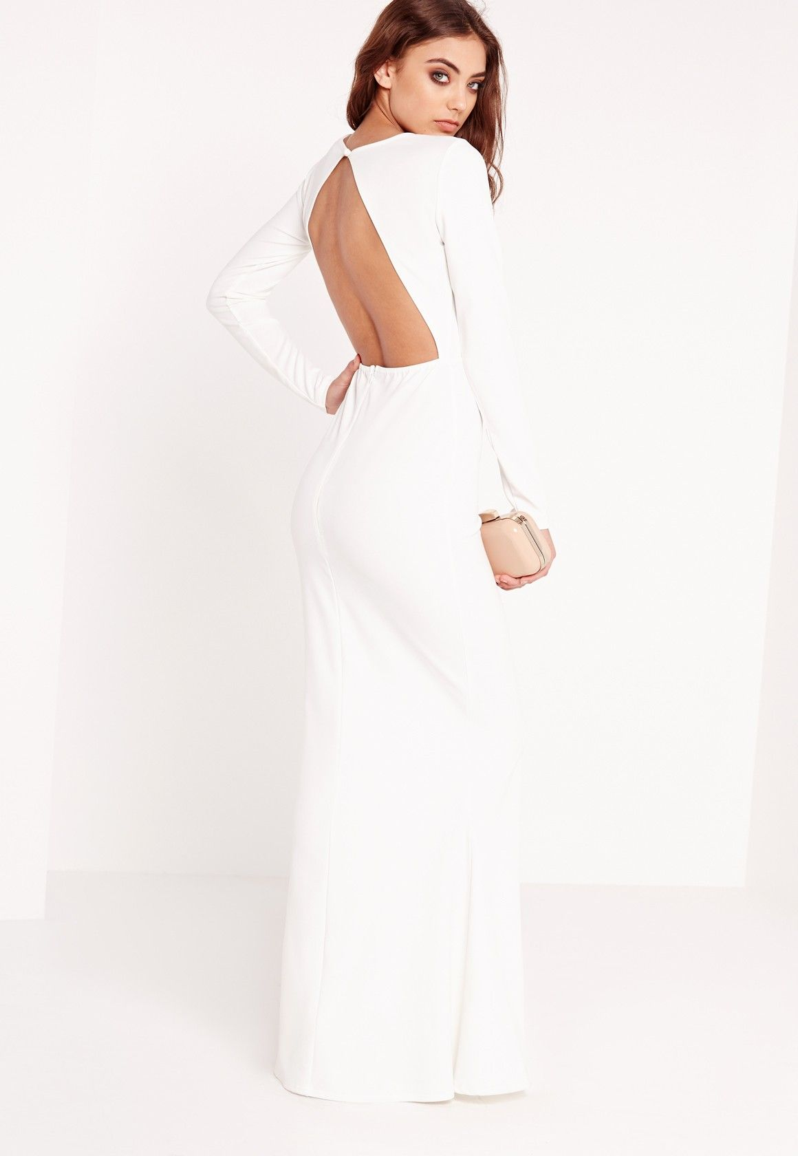 Long sleeve open back maxi dress white missguided maxi dresses