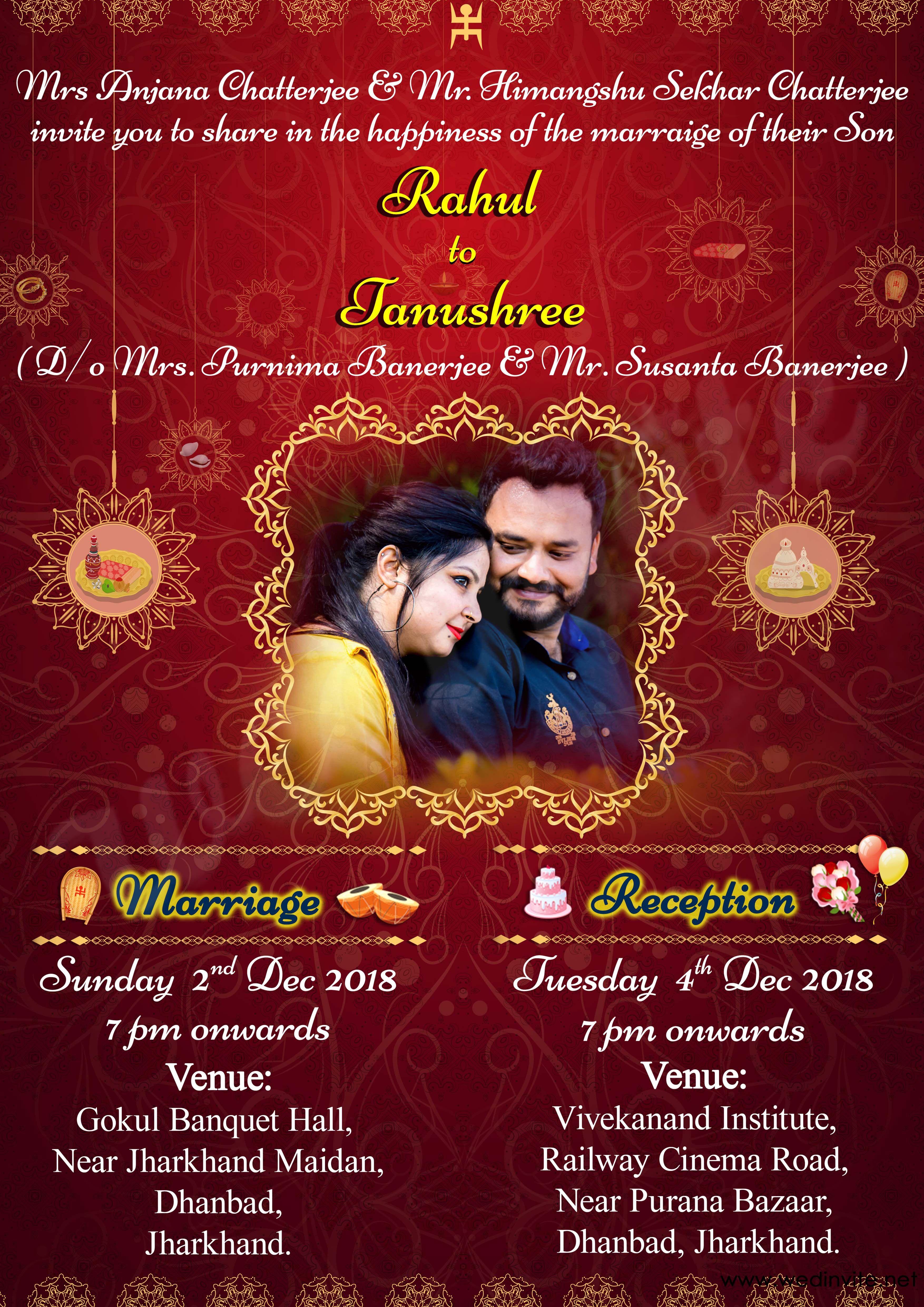 Digital Card Invite Marriage Invitation Card Hindu Wedding Invitation Cards Marriage Cards