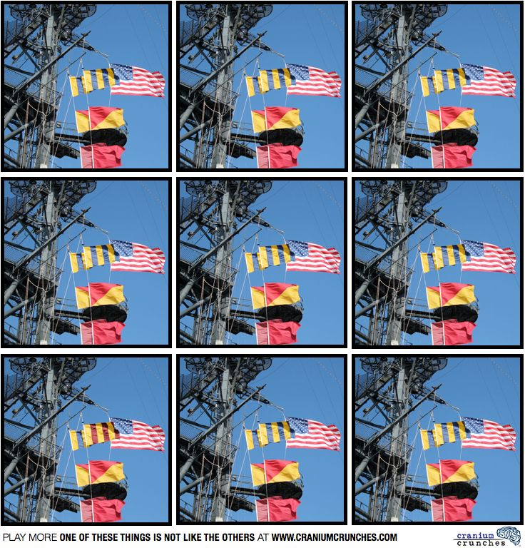 Flags on the USS Midway in San Diego.  Can you spot which picture is different? #puzzle #braingame