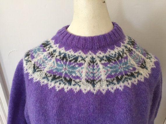 Vintage Sweater Fair Isle Yoke Shetland by MetropolisVintage ...