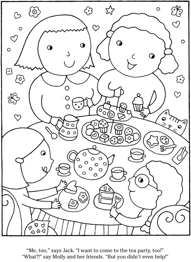 Tea Party Coloring Coloring Pages Colorful Party Party Pictures