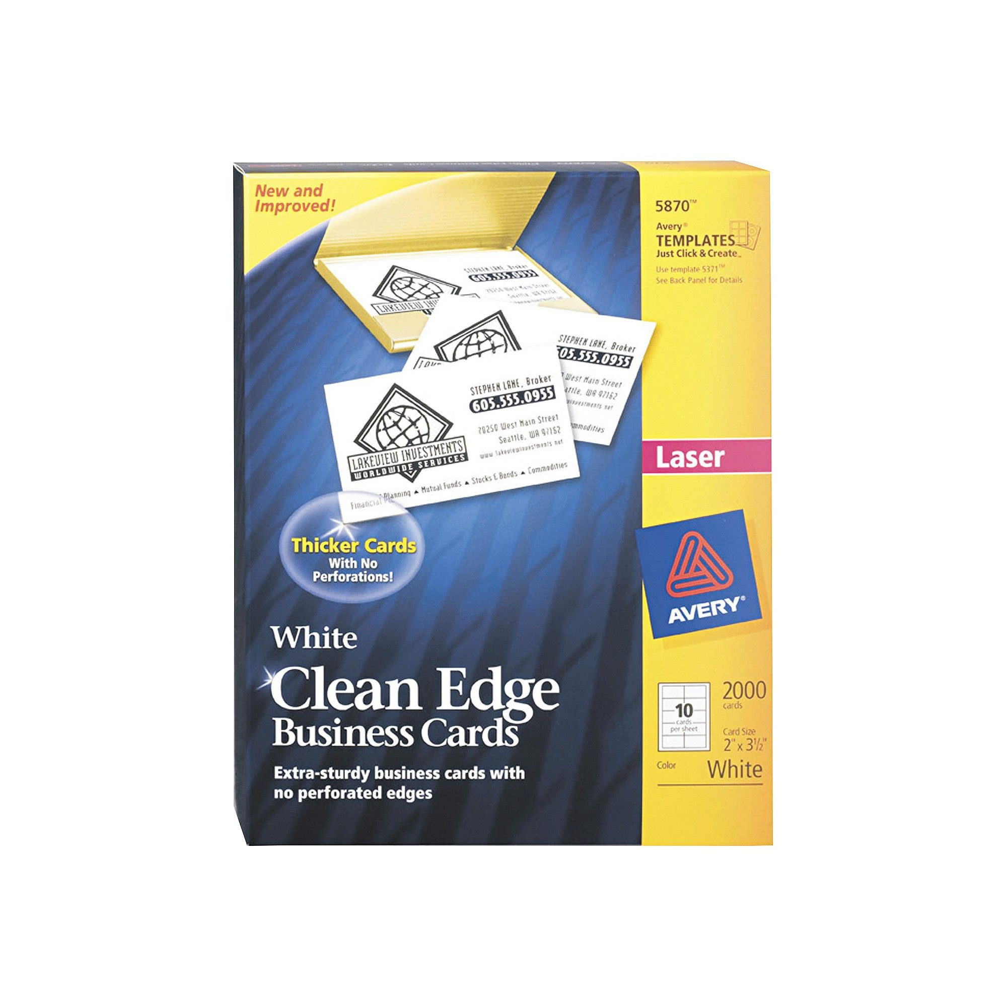avery two side printable clean edge business cards laser 2 x 3 1 2