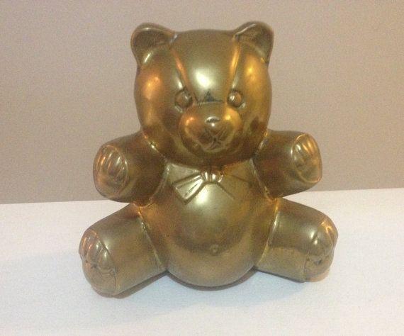 Vintage Brass Bear  Teddy Bear Nursery Decor by LuLusUniqueFinds...so adorable