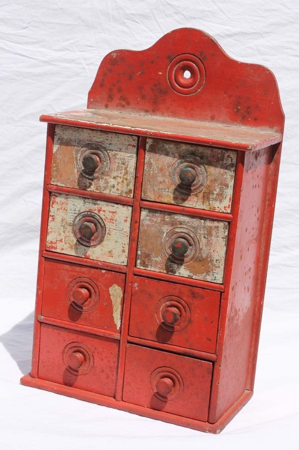 Ca 1820-30 Wall Hanging 8 Drawer Spice Box In Old Red