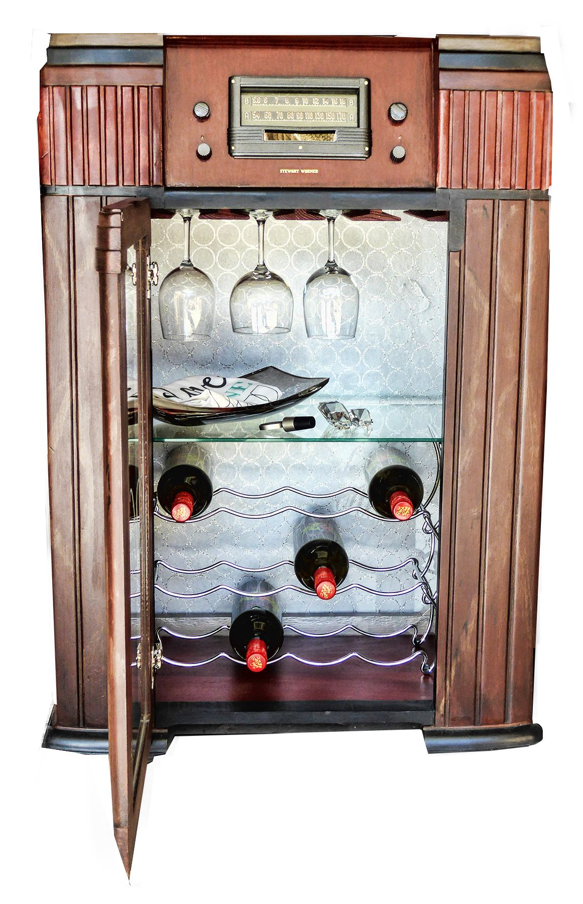 Vintage Radio Conversion To Wine Rack Antique