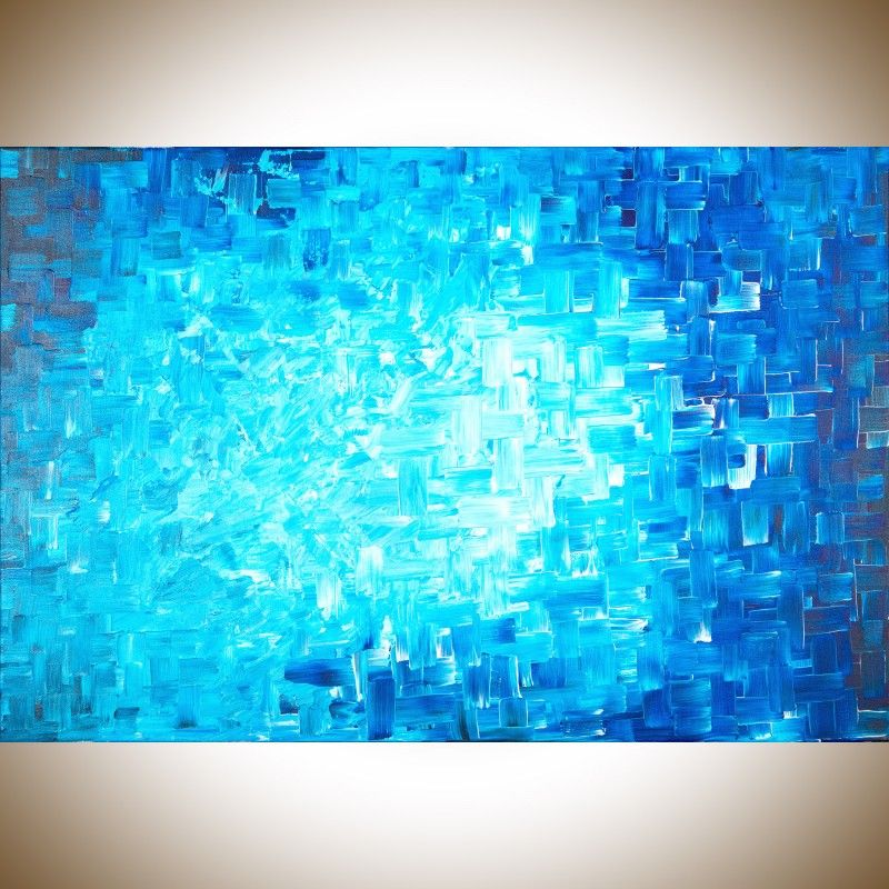 """Healing by QIQIGallery 36""""x24"""" stretched canvas Original Modern Abstract Wall Paintings Acrylic Art Office Wall Art"""