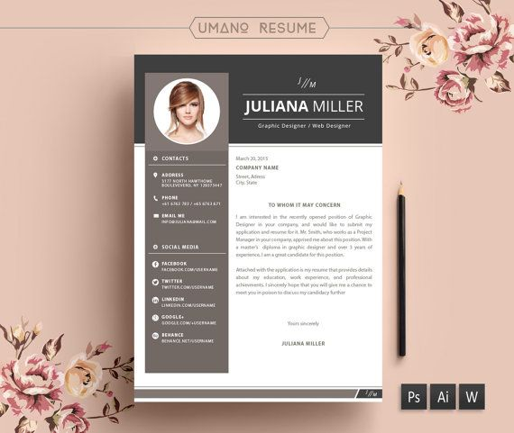 modern resume template   free cover letter for word