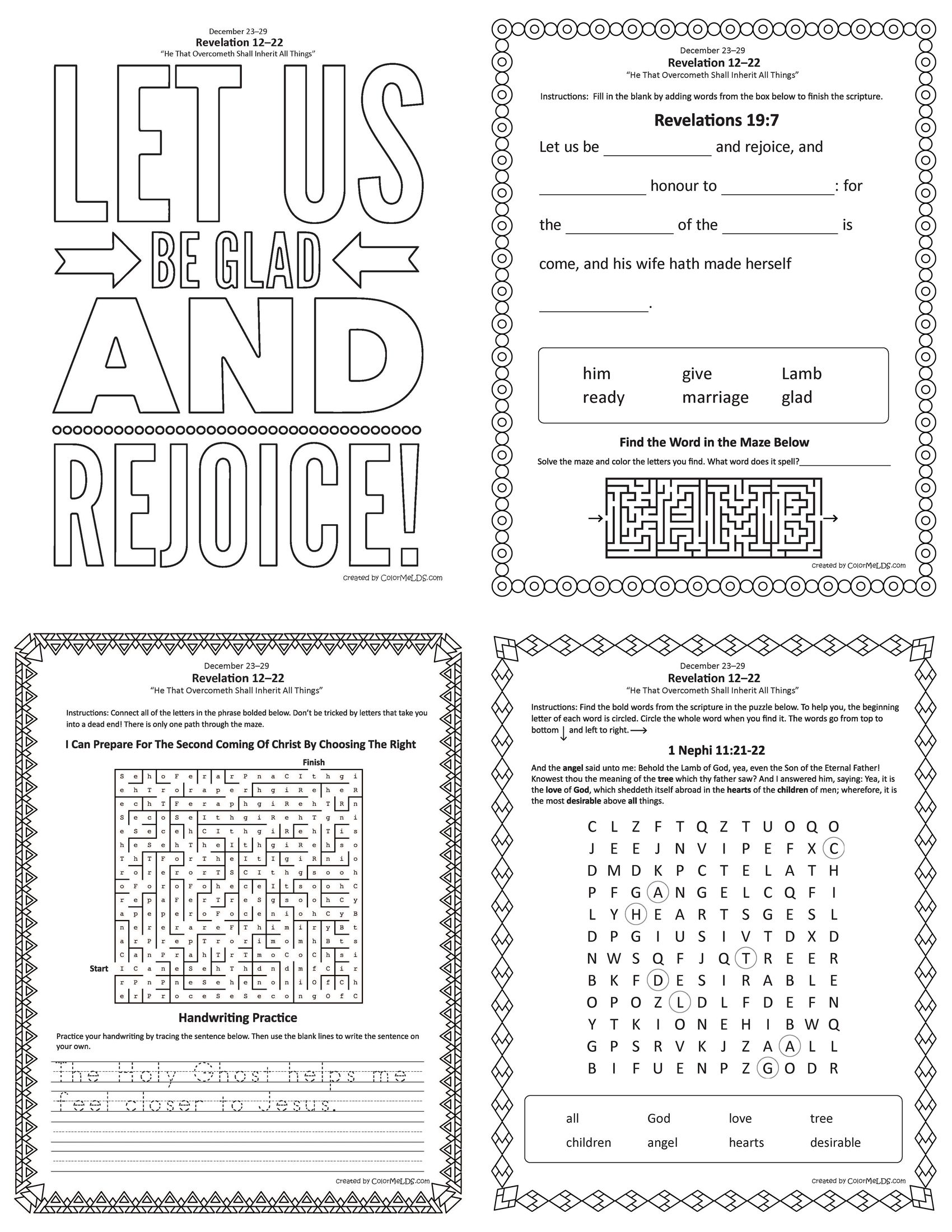 Free Lds Worksheets And Printables Word Crumb Mazes Word Searches