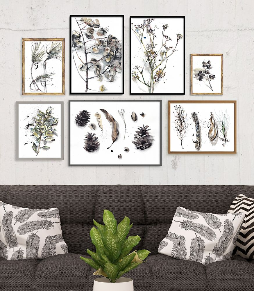Forest Gallery Wall Nature Gray Beige Art Set 7 Prints Abstract