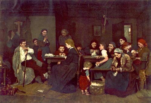 Making Lint, 1871 Mihaly Munkacsy