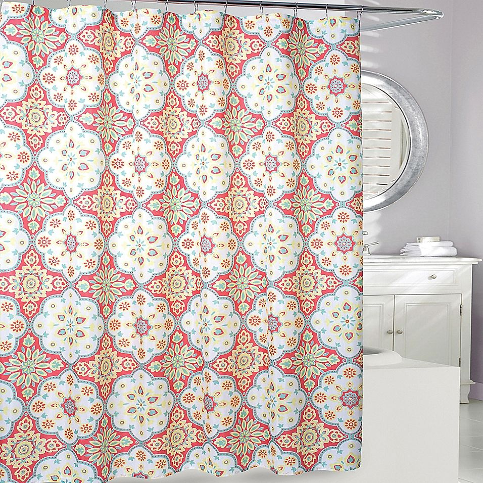 Tanya Shower Curtain In Coral Yellow Coral Shower Curtains