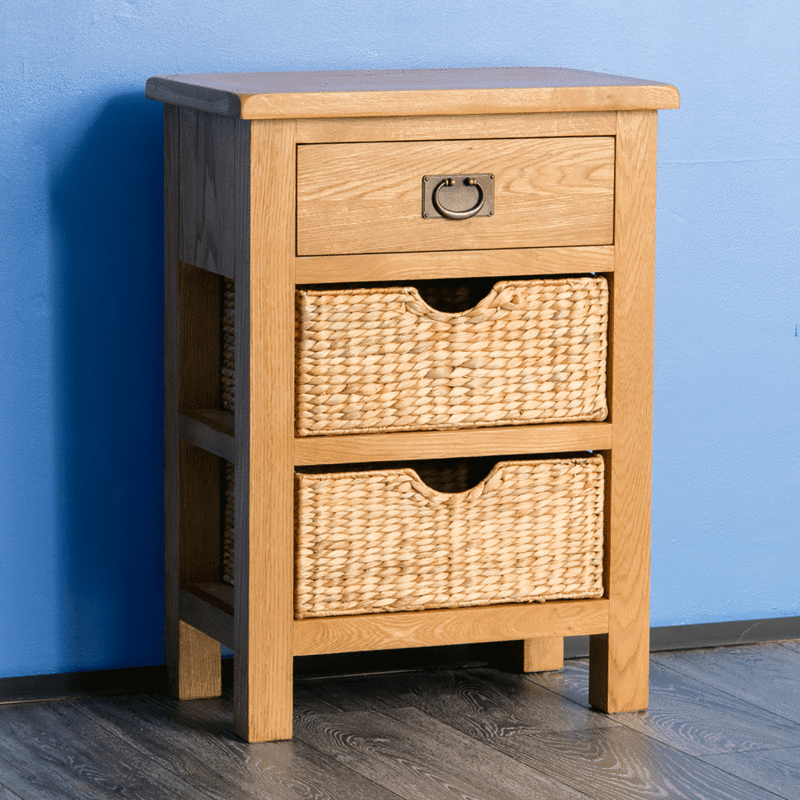 Surrey Oak Telephone Table With Baskets