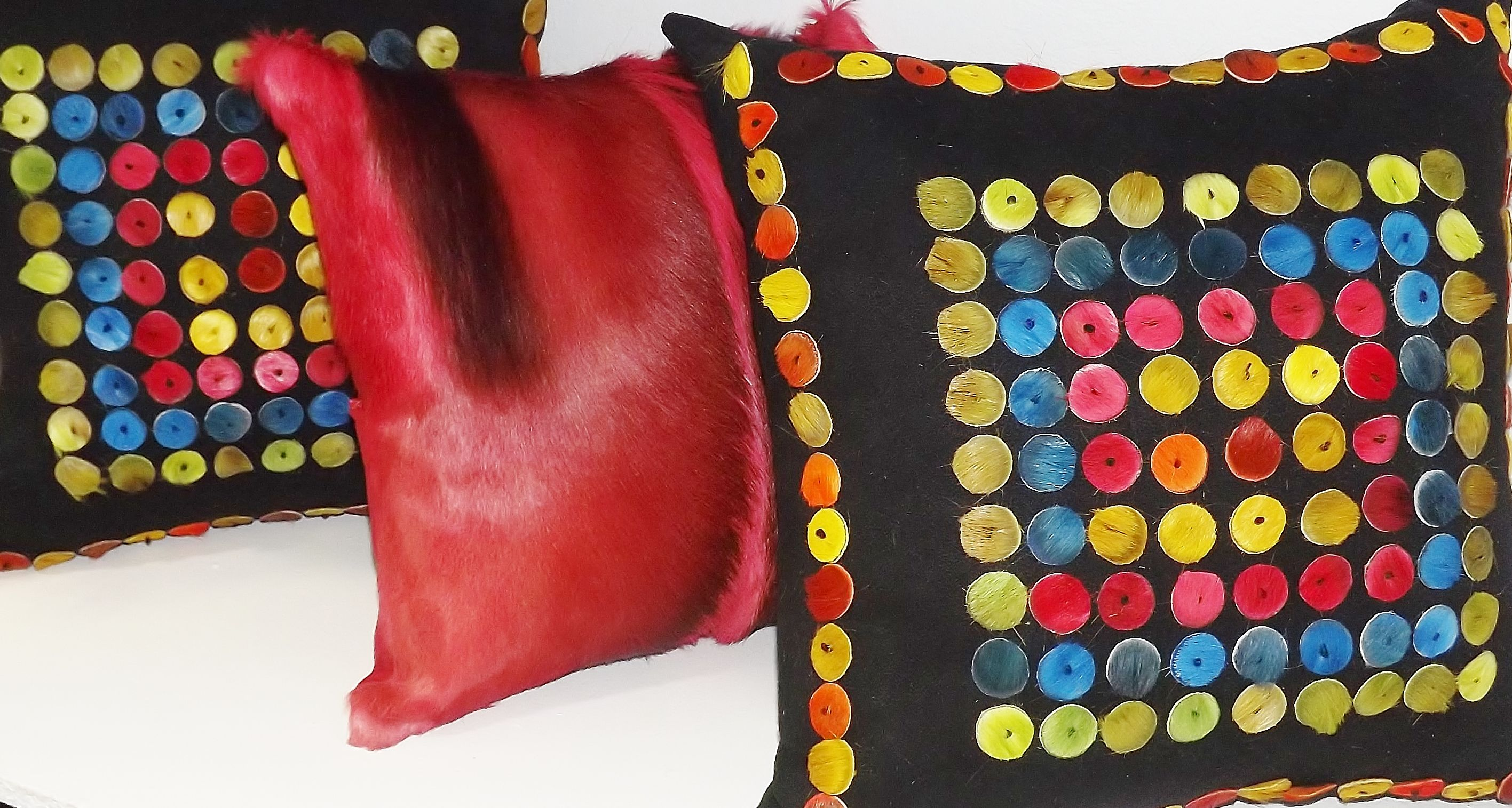 CUSTOM MADE FUR BUTTON PILLOWS. INTERESTED IN PURCHASING? CONTACT yoso@hotmail.ca