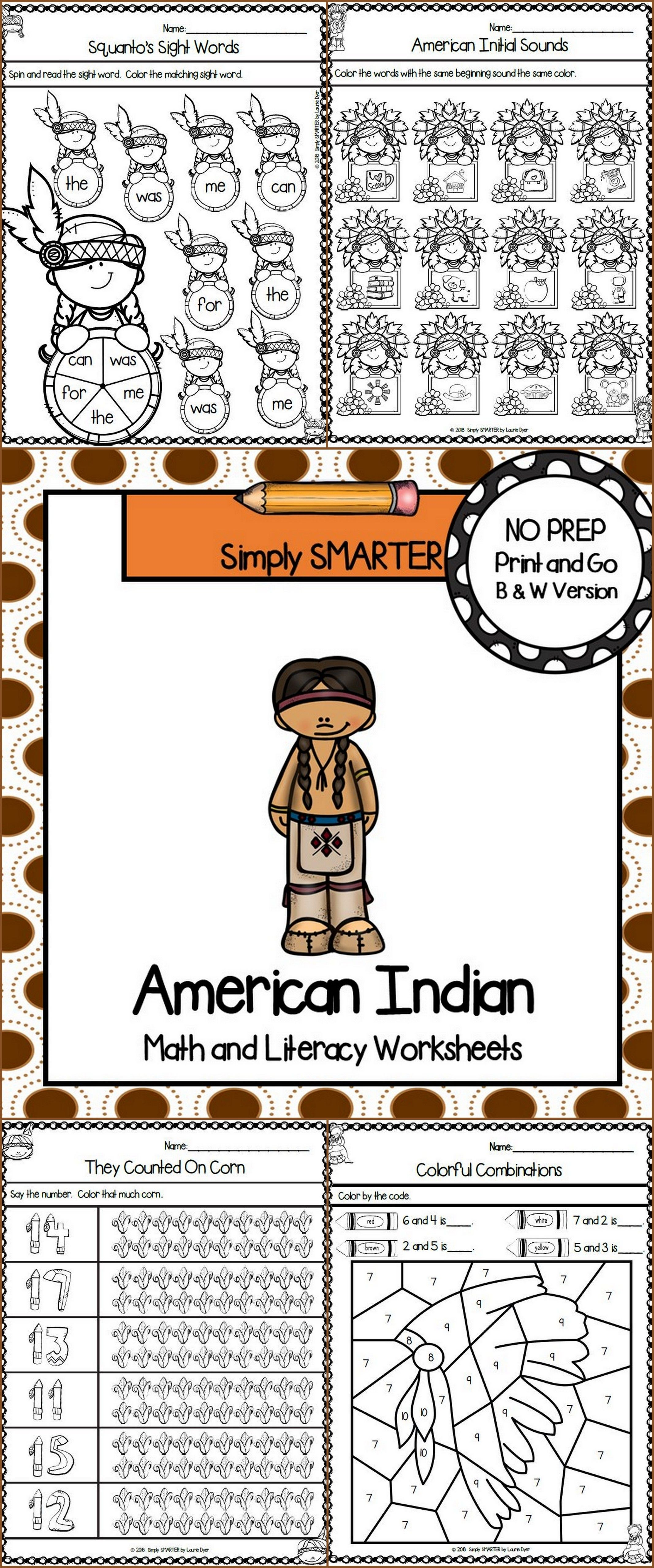 American Indian Themed Kindergarten Math and Literacy Worksheets and  Activities   Literacy worksheets [ 5120 x 2134 Pixel ]