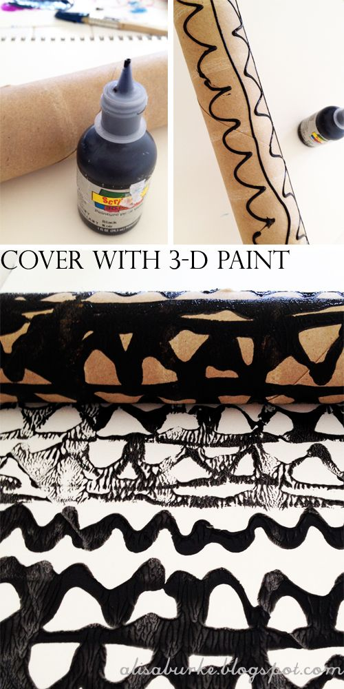 Use 3 D Paint To Cover The Surface Of The Cardboard Roll