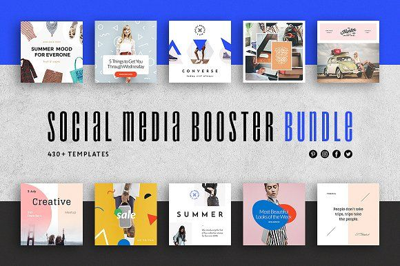 Social Media Booster Bundle Web Elements Socialmedia Templates Instagram Pin Social Media Design Marketing Strategy Social Media Social Media Template