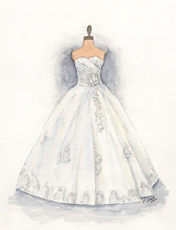 Custom Wedding Dress Painting Dress Art Dress Drawing Holiday