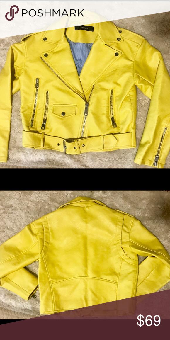 Zara Faux leather biker jacket New Faux leather biker