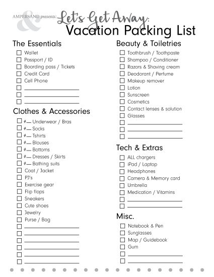 Free} Printable Packing List! The InfluenceHer Collective - Vacation Packing List Printable