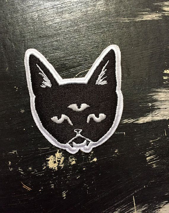 THREE EYED CAT glow in the dark patch Etsy Glow in the