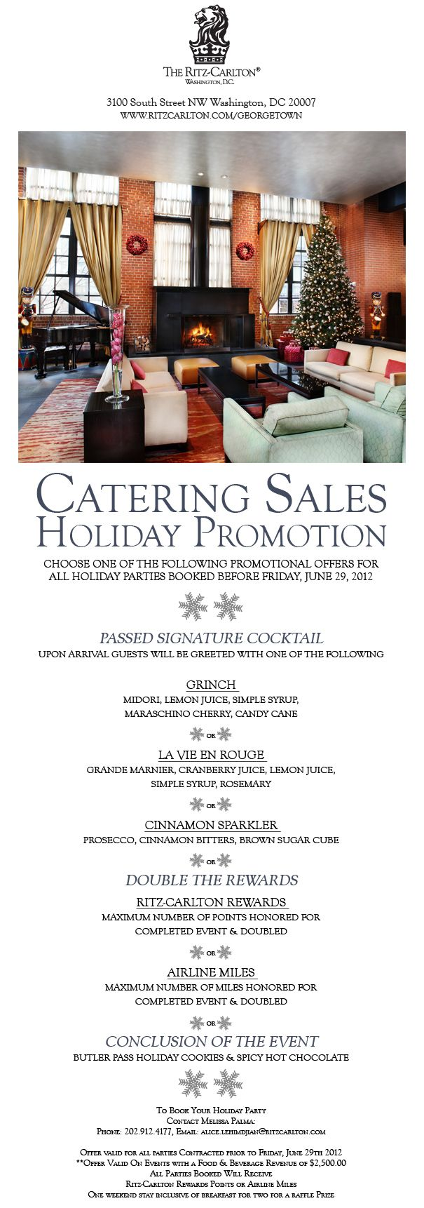 Holiday catering email for The Ritz Carlton Washington, D.C.