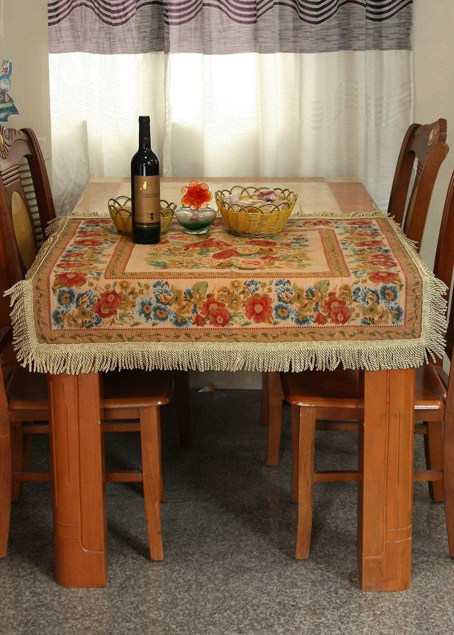 Tache Colorful Floral Country Rustic Morning Meadow Tablecloths (DBTC559845) is part of Country Clothes Rustic -  Place mat or to cover a nightstand, 35  to cover your coffee table or 59  to cover your dining table  Makes a Beautiful Centerpiece, while keeping dishes and plates from moving around the table  Matching Cushion covers; Here Matching Table Runners; Hereand Here  Item model number  DSC3098  Includes   DBTC309845 Diameter 17 inches  DBTC3098150 Diameter 59 Inches DBTC309890Diameter 35 inches DBTC30989090 35  x 35  inches DBTC3098150150 59  x 59  Inches   Material  Face 45% Cotton 55% Polyester Back 35% Cotton 65% Polyester      Care Instructions  Wash under 40°c Do Not Bleach Dry Clean No Iron Do Not Tumble Dry