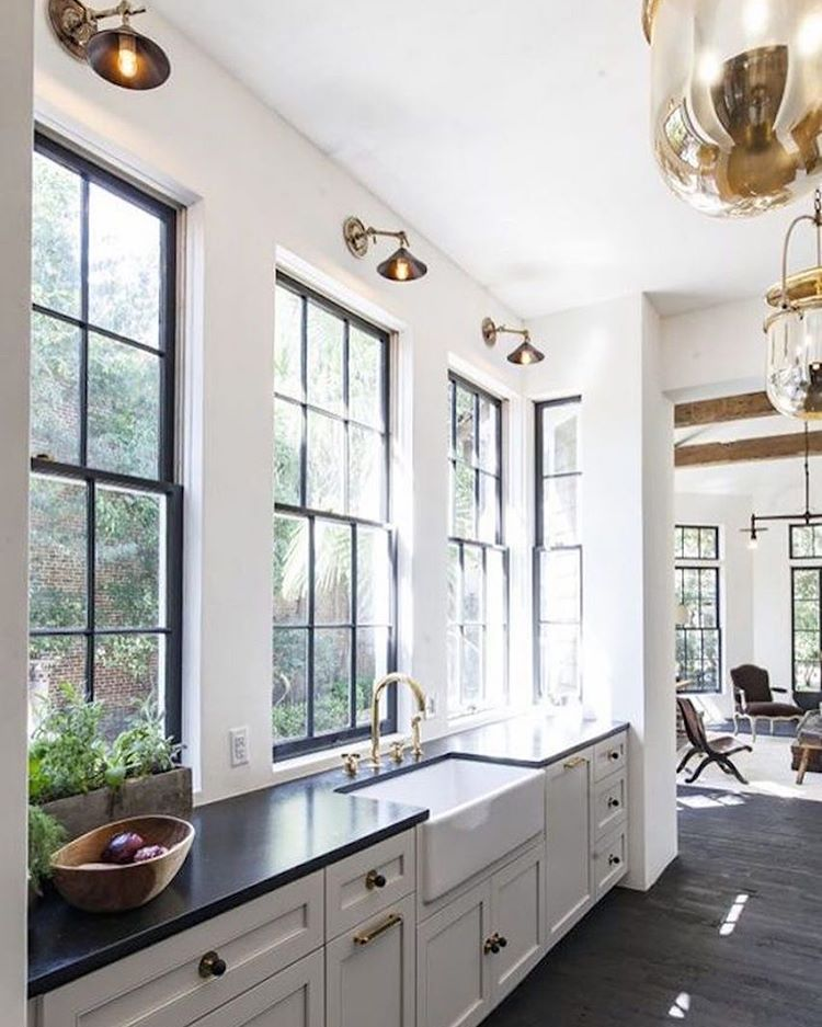 White Kitchen With Black Steel Windows See This Instagram Photo By